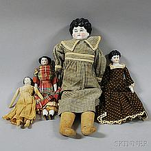 Three China Shoulder Head Dolls and One Small China Head Doll, one impressed