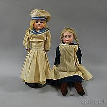 Two Blonde Bisque Shoulder Head Girl Dolls, an Armand Marseille, impressed