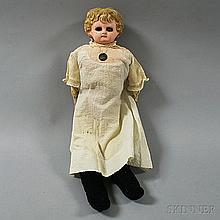 Blonde Papier-mache Shoulder Head Girl Doll, with molded and painted blonde hair, inset blue glass eyes, painted eyelashes, cloth and k