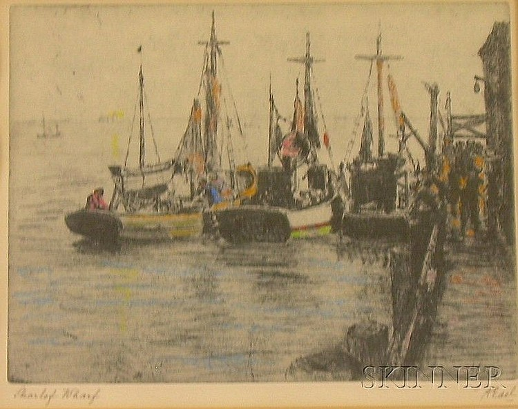 Framed Color Etching, Skarlof Wharf, by Albert Edel (American, 1890-1961), signed