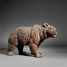 Life-size Polychrome Carved Walnut Bear, probably Black Forest, Germany, late 19th century, the detailed bear with glass eyes and an op