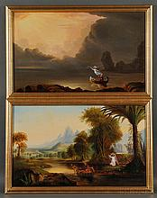 After Thomas Cole (American, 1801-1848) Two Allegories. Unsigned. Each oil on canvas, the first based on The Voyage of Life: Youth, the