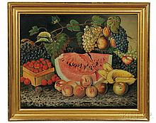 American School, Early 20th Century Large Still Life with Fruit on a Black Marble-top Table. Signed and dated