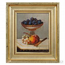 American School, 19th Century  Still Life with Fruit in a Compote on a Marble-top Table. Unsigned. Oil on artist's board, 11 3/4 x 9 3/
