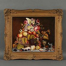 American School, 19th Century Tabletop Still Life with Porcelain Basket of Fruit and Flowers. Unsigned. Oil on canvas, 20 x 24 in., in