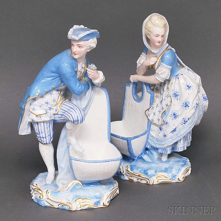 Pair of Chelsea Porcelain Romantic Couple Figurines, the figures dressed in 18th century costume, with green anchor marks, ht. 10 5/8 i