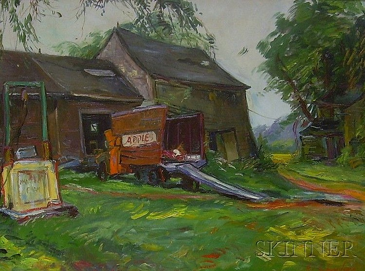 Framed Oil on Canvas View with an Apple Truck and Barn, Apples, by Sheldon C. Schoneberg (America...