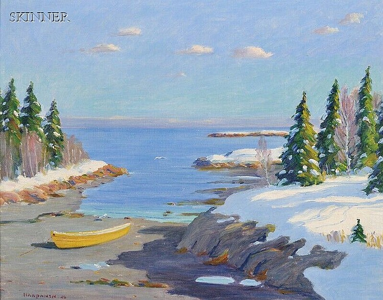 John Nichols Haapanen (American, 1891-1968), Maine Inlet in Winter, Signed and dated