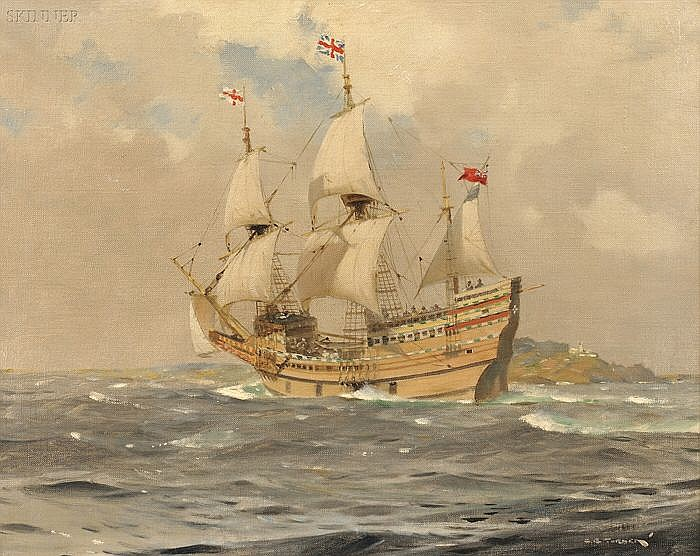 Charles Eddowes Turner (British, 1883-1965) Mayflower II Off Start Point, Devon, England, 1957 Signed