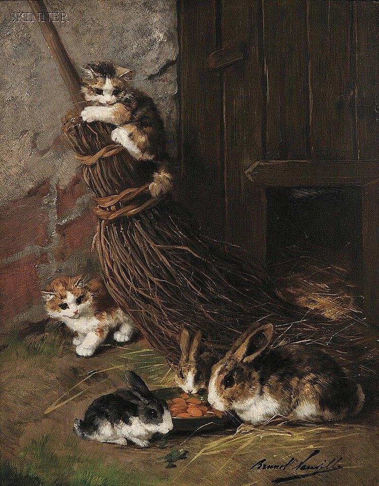 Alfred Arthur Brunel de Neuville (French, 1851-1941) Kittens at Play with Rabbits at Feed Signed
