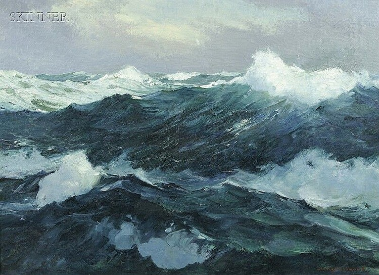 Stanley Wingate Woodward (American, 1890-1970) Crashing Waves Signed