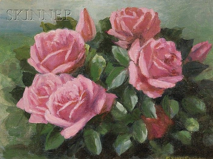 Mae Bennett Brown (American, 1887-1973) Bouquet of Pink Roses Signed