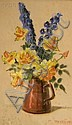 Mae Bennett Brown (American, 1887-1973) Delphiniums and Yellow Roses in a Copper Pitcher Signed