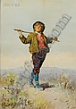 Domenico de Angelis (Italian, 1852-1904) Boy in the Countryside Signed and inscribed