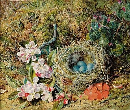 Attributed to William Cruikshank (Scottish/Canadian, 1849-1922) Still Life with Robin's Nest and Flowerse...