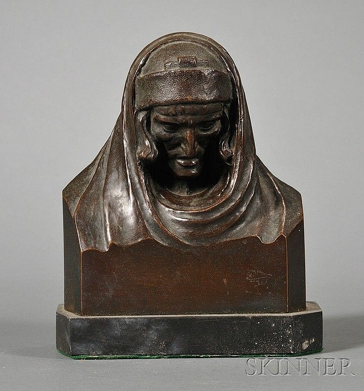 Archimedes Aristedes Michael Giacomantonio (American, d. 1988) Bronze Bust of Dante, the pensive figure in...
