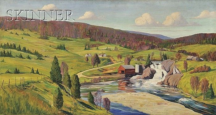 John Nichols Haapanen (American, 1891-1968) Valley Vista with Farm and River Signed and dated