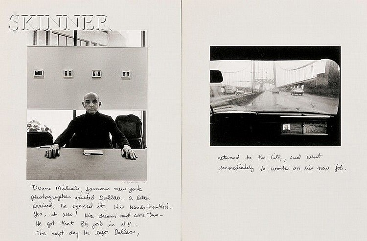 Paul A. Greenberg (American, b. 1935) Duane Michals, Famous New York Photographer Visited Dallas.../A Diptych, 1976. Signed, dated, and