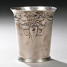 George III Sterling Silver Beaker, London, 1774-75, maker's mark rubbed, probably John Denwall, with flaring rim, tapered body repouss