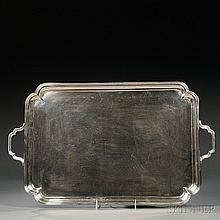 George V Sterling Silver Tray, London, 1910-11, Thomas Bradbury & Sons Ltd., with additional retailer's mark