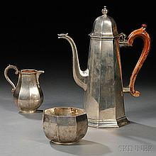 Three-piece Elizabeth II Sterling Silver Coffee Service, London, 1978-80, James Robinson, maker, each with paneled body, a tall, taperi