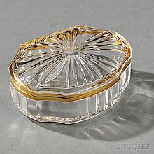Russian 14kt Gold-mounted Rock Crystal Box, late 19th/early 20th century, lacking maker's or assayer's marks, ovoid, with a starburst