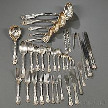 Assembled Whiting Imperial Queen Pattern Sterling Silver Flatware Service, New York, late 19th/early 20th century, most with assorted m