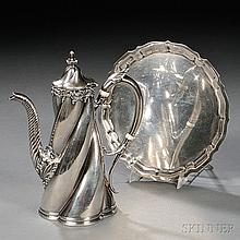 Two Pieces of Gorham Sterling Silver Hollowware, Providence, Rhode Island, a special order coffeepot, 1892, with a swirled body and sle