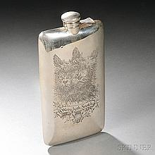 William B. Kerr & Co. Sterling Silver Flask, Newark, New Jersey, early 20th century, with a hinged lid, the body engraved with two Scot