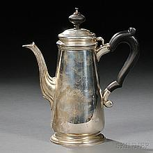 Tiffany & Co. Sterling Silver Coffeepot, New York, 1947-56, monogrammed, with hinged cover, tapered body, foliate spout, molded foot, a