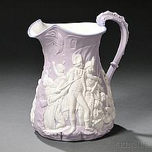 Parian Battle of Trafalgar Commemorative Pitcher, England, mid-19th century, attributed to Samuel Alcock, molded body with white figure