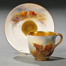 Royal Worcester Harry Stinton Decorated Demitasse Cup and Saucer, England, early 20th century, with gilded trim and polychrome enamel d