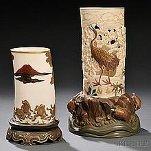 Two Royal Worcester Porcelain Tusk Vases, England, c. 1870-80, each gilded and enamel decorated, one with a large snake attacking frogs