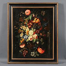American School, 19th/20th Century, Dutch-style Floral Still Life, Unsigned., Condition: Craquelure, stretcher bar marks, surface grime