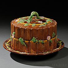 George Jones Majolica Cheese Dish and Cover, England, c. 1875, the slat molded body with vines and blossoms in relief, raised factory m