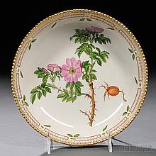 Royal Copenhagen Flora Danica Pattern Porcelain Serving Dish, 20th century, circular, polychrome enamel and gilt-decorated, titled