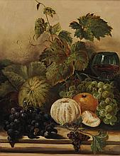 British School, 19th/20th Century, Still Life with Fruit and Wine, Signed