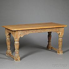 English Limed Oak Refectory Table, 18th century and later, with a lunette-carved frieze, raised on baluster-form legs joined by two str