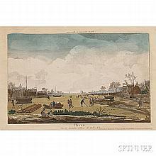 After Nicolas-Dauphin de Beauvais (French, c. 1687-1763), Hyver, Vue de Santuliet Village de Hollande, Unsigned, titled and inscribed