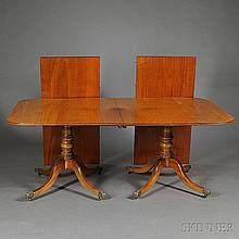 George III-style Mahogany Double-pedestal Dining Table, 20th century, the rectangular top raised on baluster-form pedestal supports ter