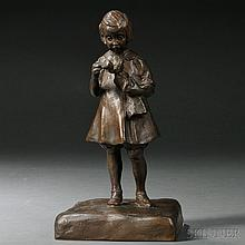 Lillie Osborne (American, 20th Century)  Bronze Figure of a Girl and Her Doll, cast as a standing child combing her doll's hair, on a