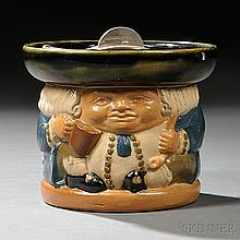 Royal Doulton Stoneware Tobacco Jar, England, c. 1925, attributed to Harry Simeon, modeled as a toby figure, impressed mark, ht. 4 1/2