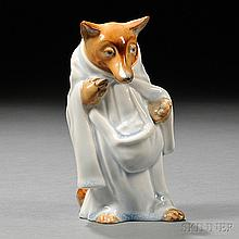 Royal Doulton Character Figure of The Wolf, England, c. 1920, by Charles Noke, the standing figure wearing a pale blue glazed cloak, HN