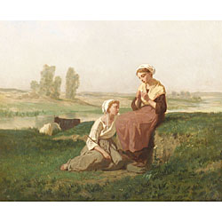 Evariste Vital Luminais (French, 1822-1896) In the Fields Signed