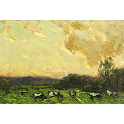 Antonio Fontanesi (Italian, 1818-1882) Cows at Pasture Signed