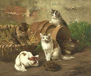 Alfred Arthur Brunel de Neuville (French, 1851-1941) Curious Kittens Signed 'Brunel de Neuville' l.r. Oil on canvas, 21 1/4 x 25 1/2 in. 53.9 x 64.7 cm), framed in a liner. Condition: Damage to tacking edges, puncture l.c., craquelure. Estimate -
