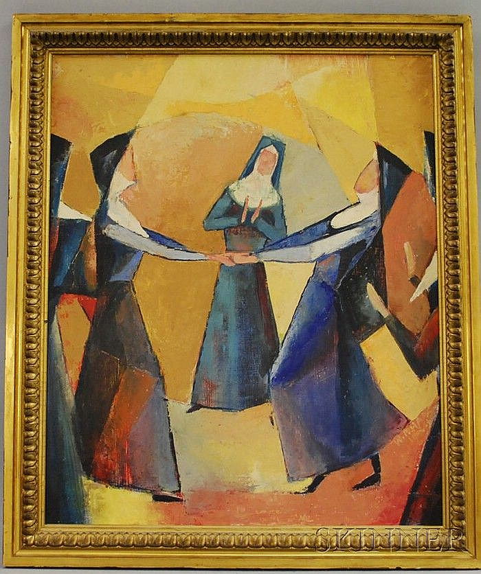 Attributed to Willem F. Haas (Netherlandic, 1878-1960) Dancing Nuns/An Abstract Composition. Signed