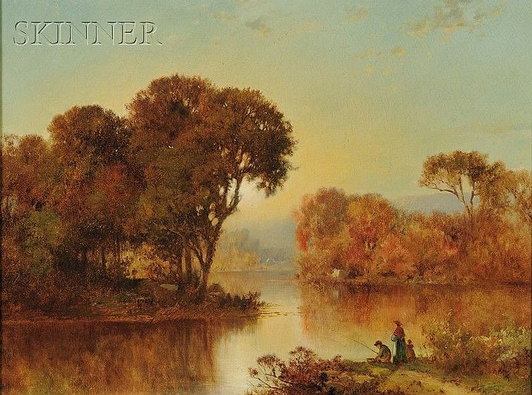 Joseph Morviller (American, 1800-1870) Figures on a River Bank Signed and dated