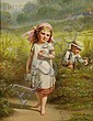 Benjamin Franklin Reinhart (American, 1829-1885) Playing Among the Daisies Signed and dated