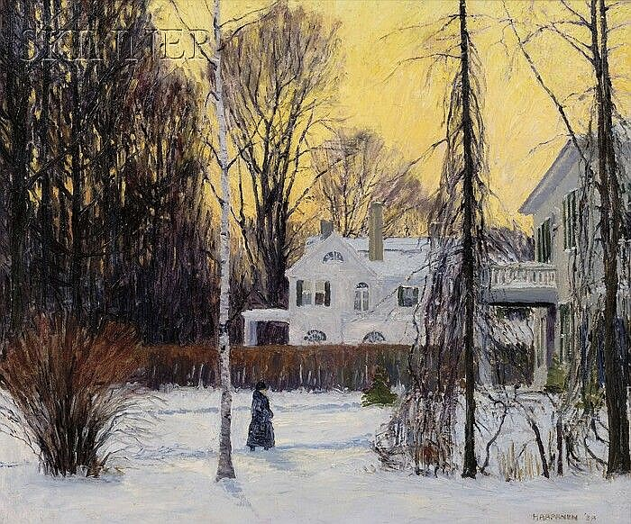 John Nichols Haapanen (American, 1891-1968) Stroll in Winter's Twilight Signed and dated